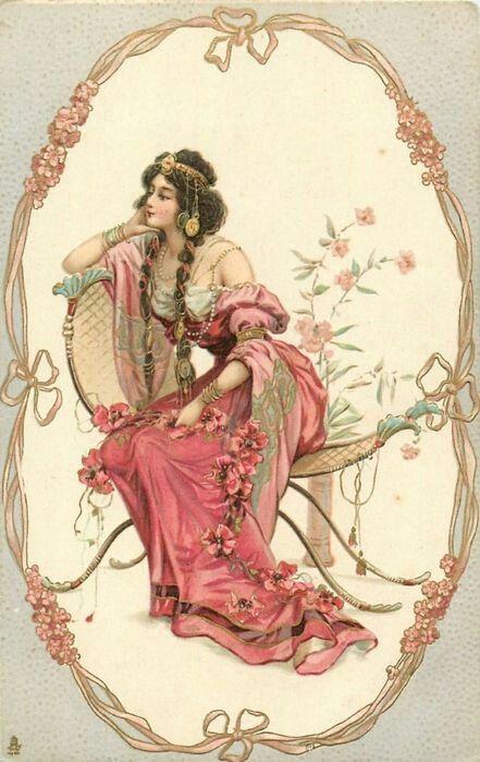 Марта, старинные открытки гламурные