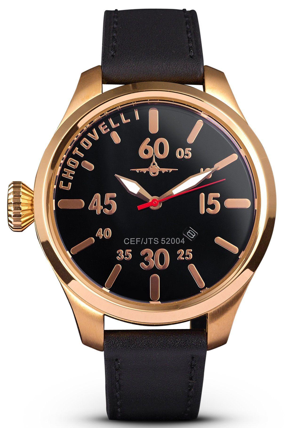 Chotovelli Luxury Pilot Mens Watch Aviation Dial Italian