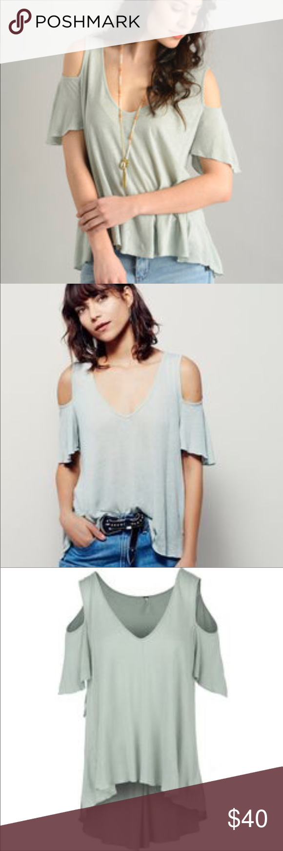 213c618247a79 Free people Bittersweet Cold-Shoulder Tee Size small like new condition. Free  people open shoulder top. Light weight top perfect for layering.
