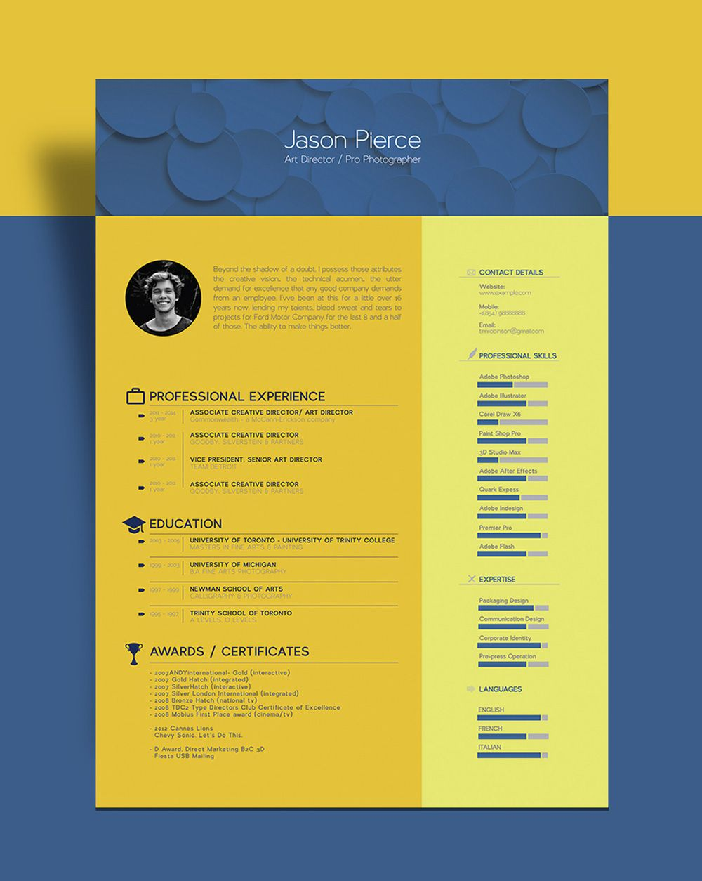 Free Beautiful Resume CV Template For Graphic Designer Art Director Freebies A4 AI Design Resource Vector