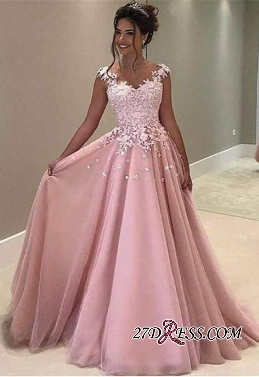 Gorgeous 2017 Pink Lace Appliques A-Line Long Evening Dress ...