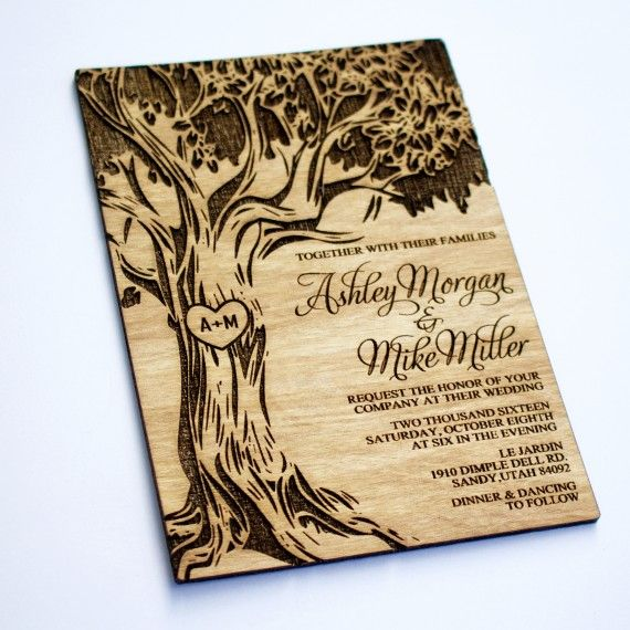 SAMPLE Oak Tree Wooden Wedding Invitation Real Wood Laser