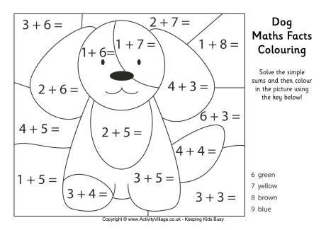 dog maths facts colouring page kleuren met nummers pinterest math facts math and dog. Black Bedroom Furniture Sets. Home Design Ideas