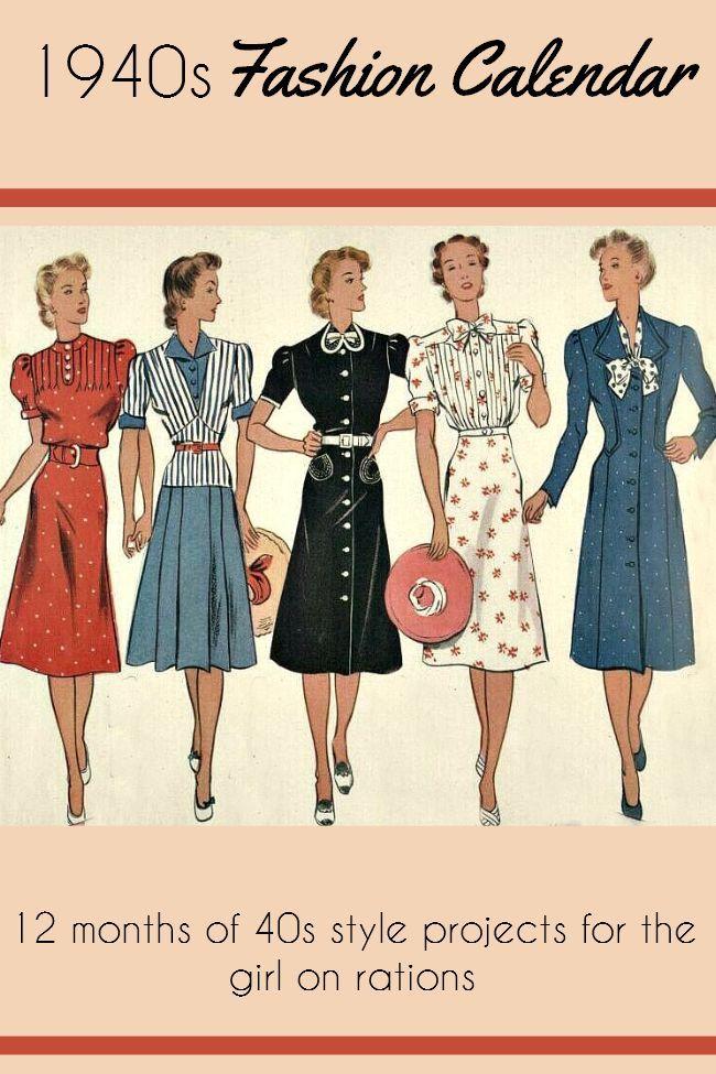 The 40s Fashion Calendar in 2019 | 1940s fashion, 40s ...
