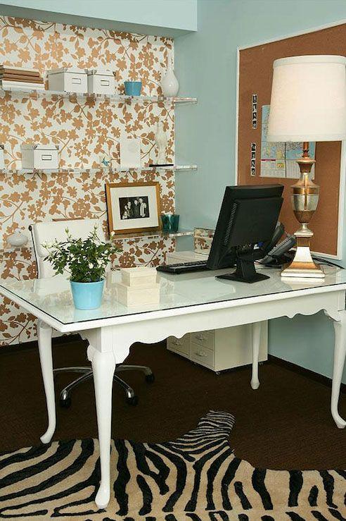 turquoise desk | LA - dens/libraries/offices - glass top desk, glass topped desk, desk ...