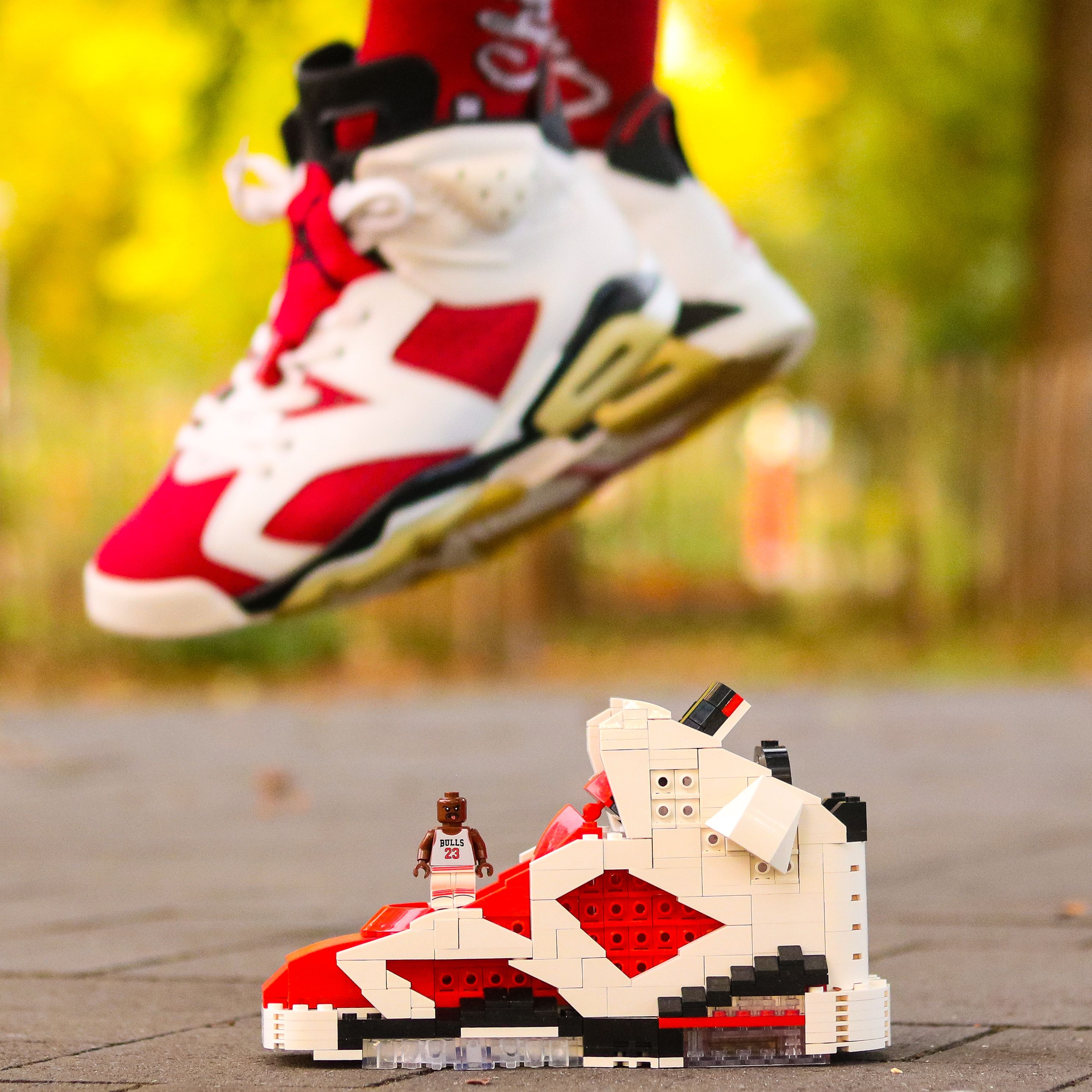Handcrafted Air Jordan 6 Carmine Lego Puzzle Display Set Kicksmini Carmine Sneakers Handcraft