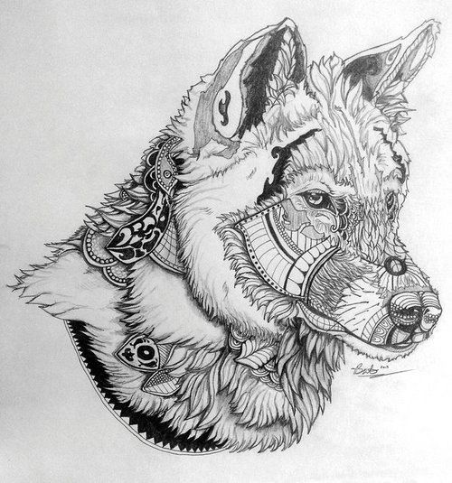 Mandala Wolf Tattoo Designs For Women I Like The: Mandala Wolf - Google Search
