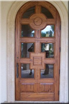 Custom Arched Solid Distressed Wood Entry Door 8\' Height ...