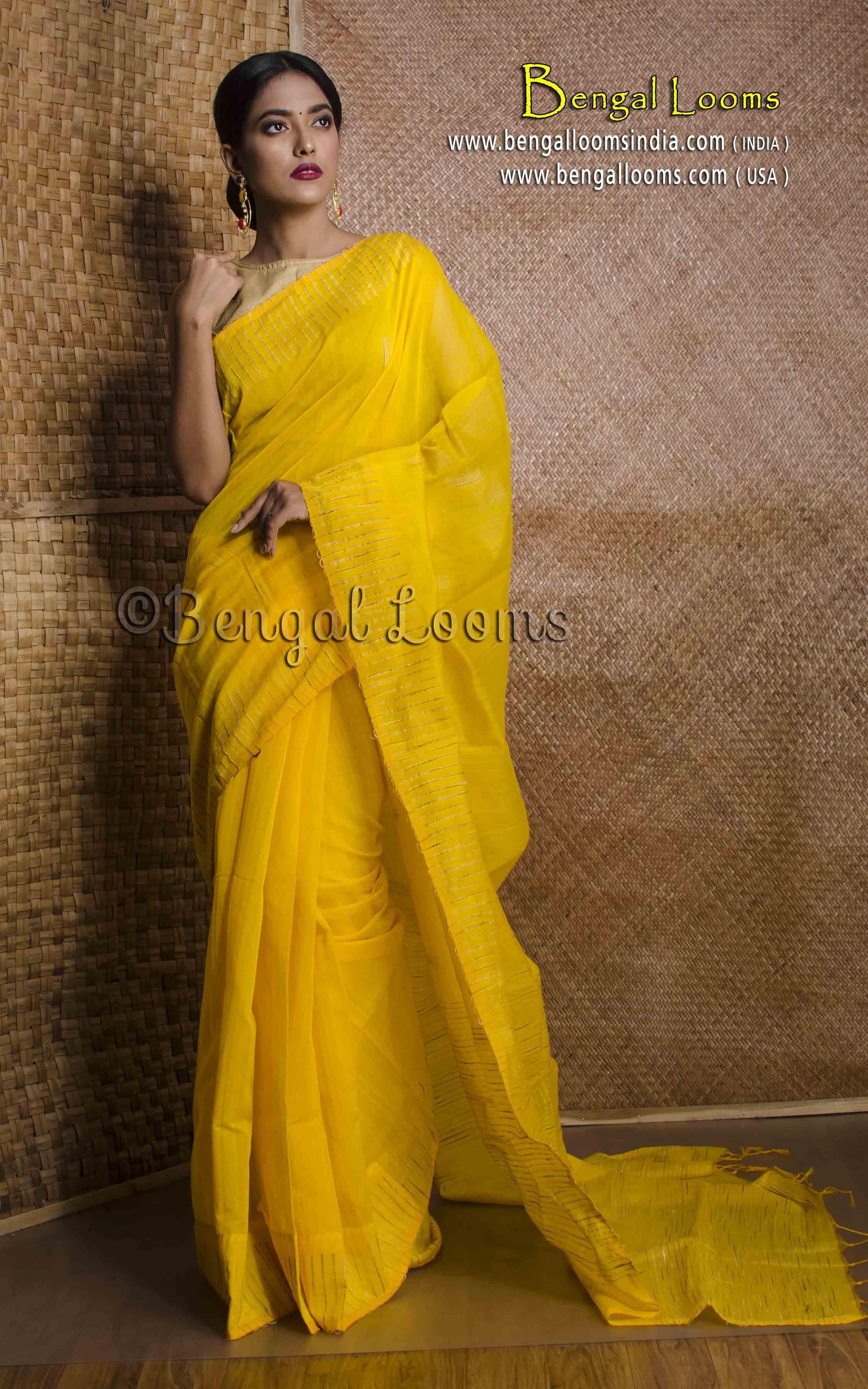 d18f69461a694b Khadi Cotton Saree With Gicha Thread Work Border in Bright Yellow ...