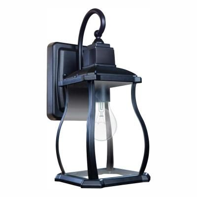 NEW! HOME DECORATORS 1-Light Charred Iron Small Outdoor Wall Mount Lantern