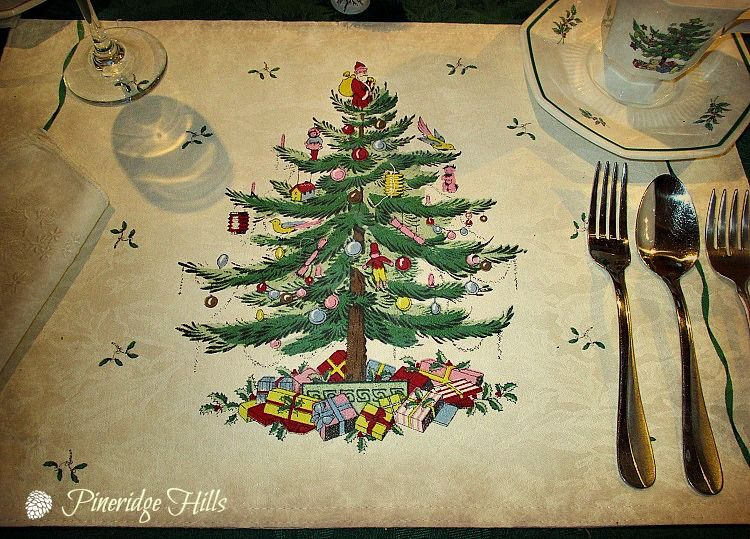 Christmastime by Spode placemats!!!!Bebe'!!! Love these Spode holiday place mats that match the Spode Christmas china!!!
