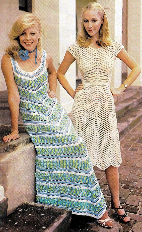 Vintage Crochet Dress Pattern MAXI Chevron PDF by