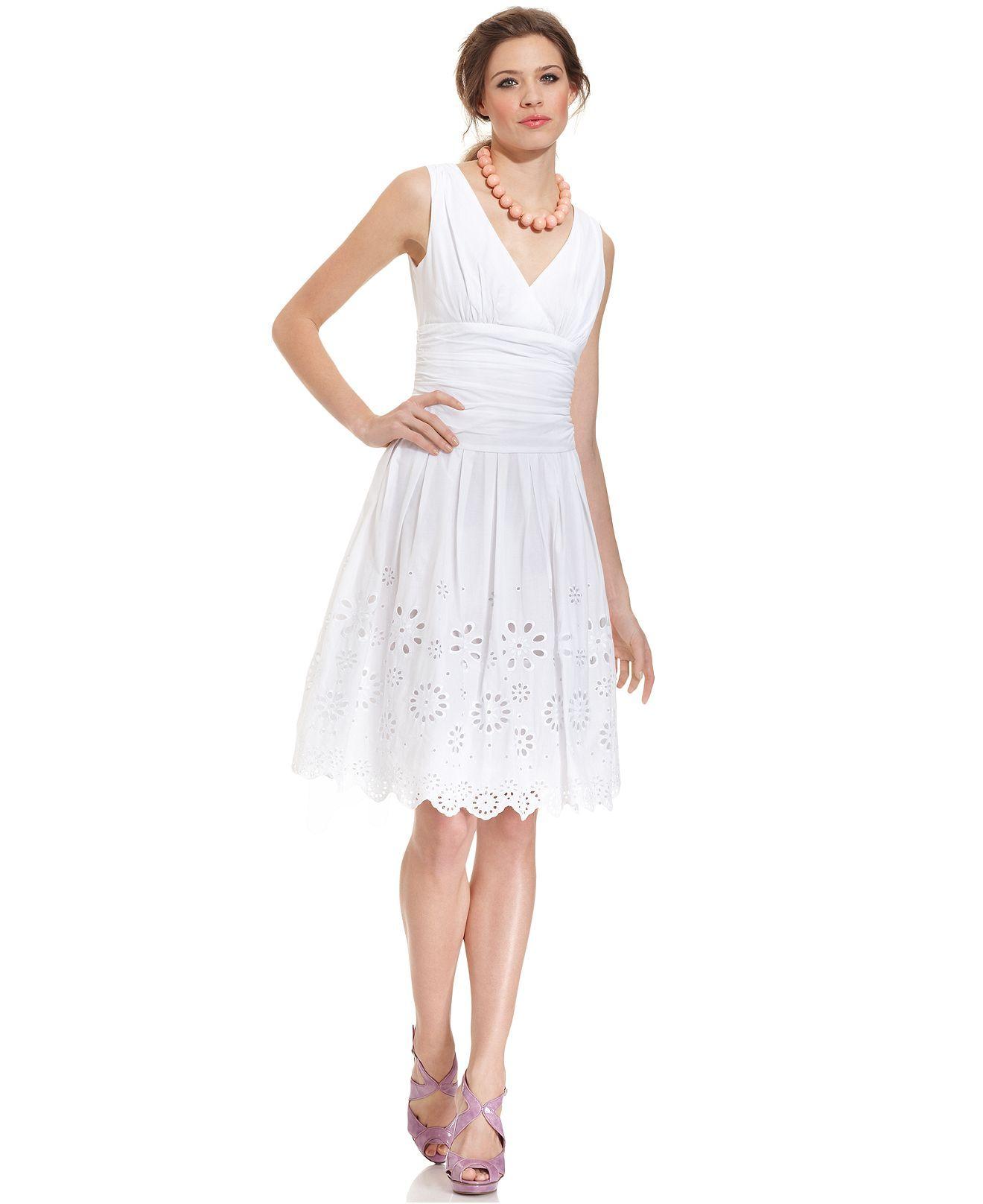 de281259b4 SL Fashions Dress, Sleeveless Ruched Pleated Eyelet - Womens Dresses - Macys