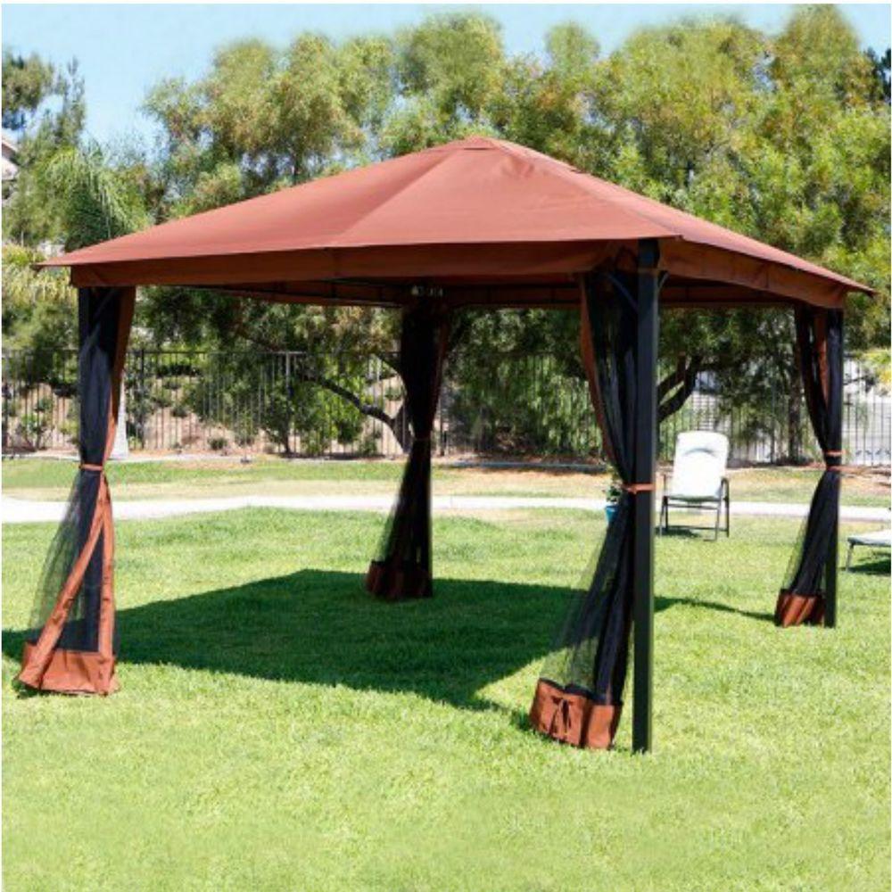 Kiosk Outdoor Yard 10 X 12 Tent Patio Canopy Gazebo Mosquito Net Netting New