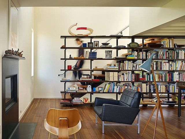home in portage bay, seattle | bookshelf room divider, room and