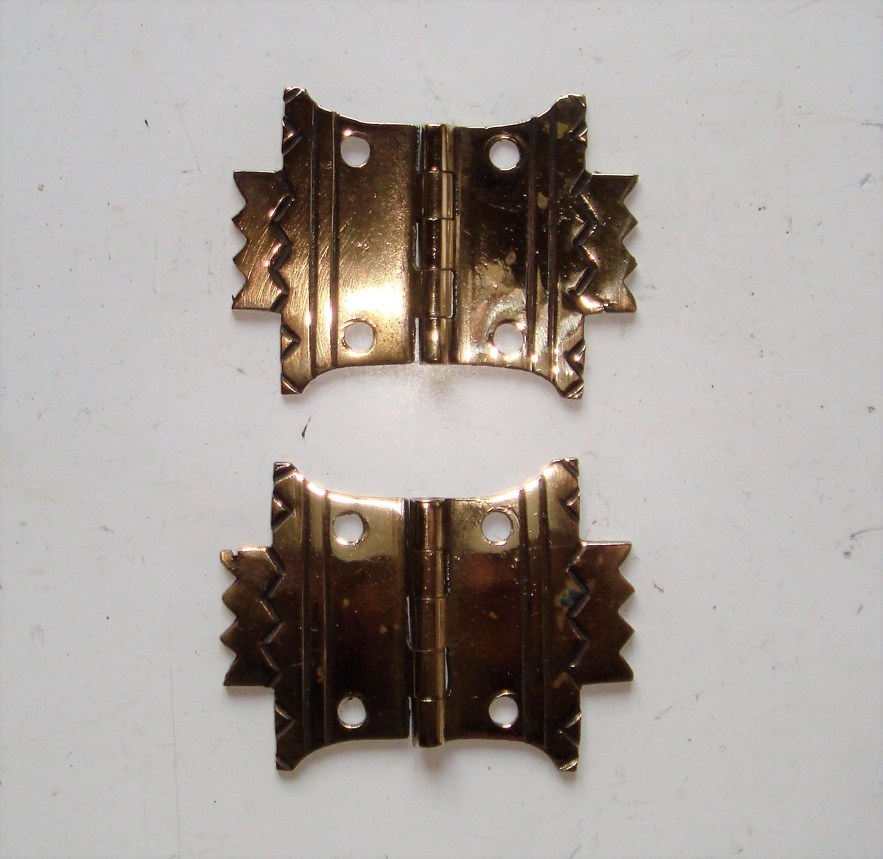 Pair of Decorative Art Deco Brass Cabinet Hinges