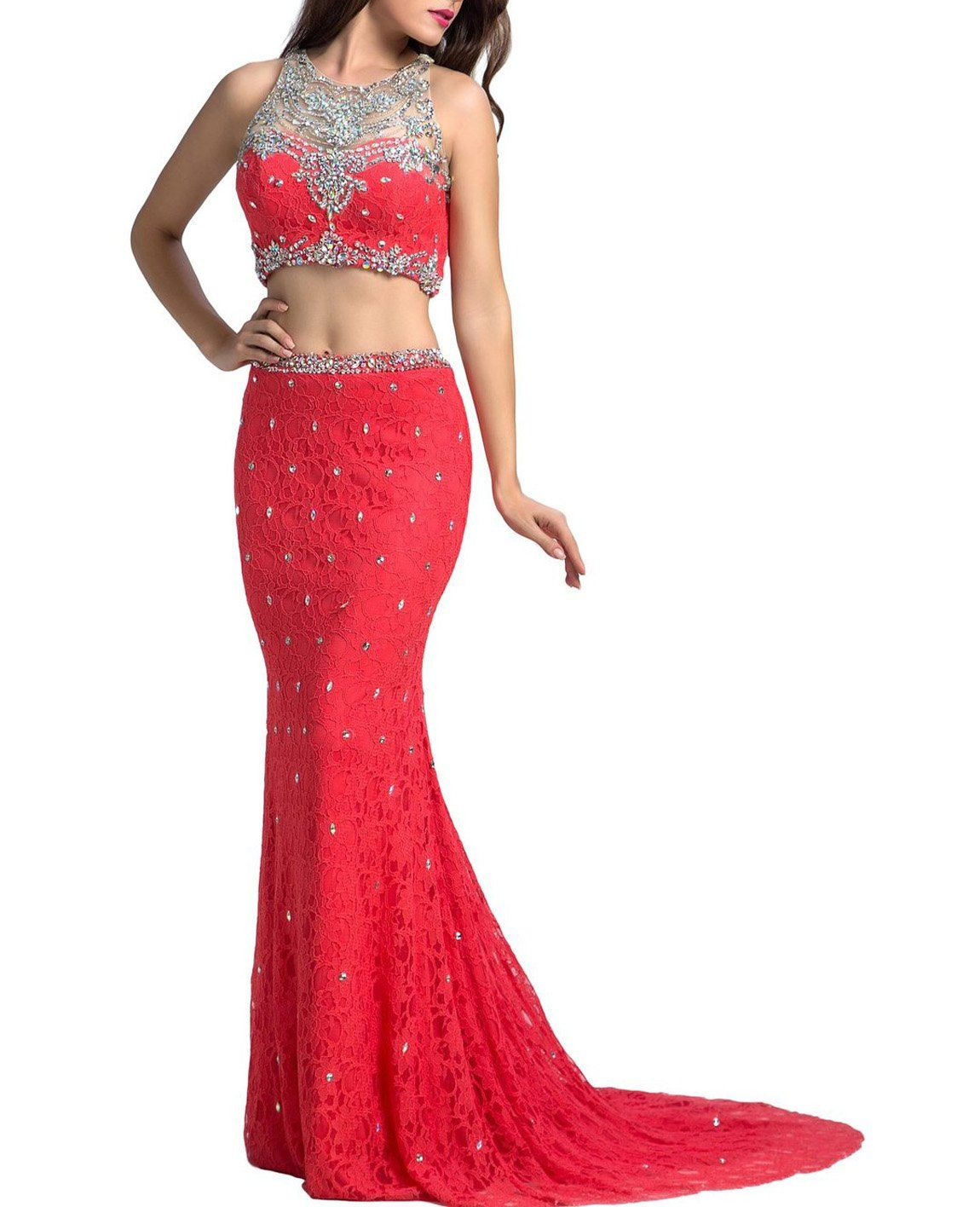 Bessdress beaded two piece lace prom dress long mermaid formal