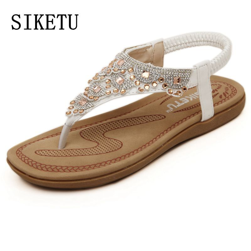989e5168e561 SIKETU Summer new sweet woman fashion diamond sandals women Bohemia sandals  toe beach sandals casual comfortable flat sandals