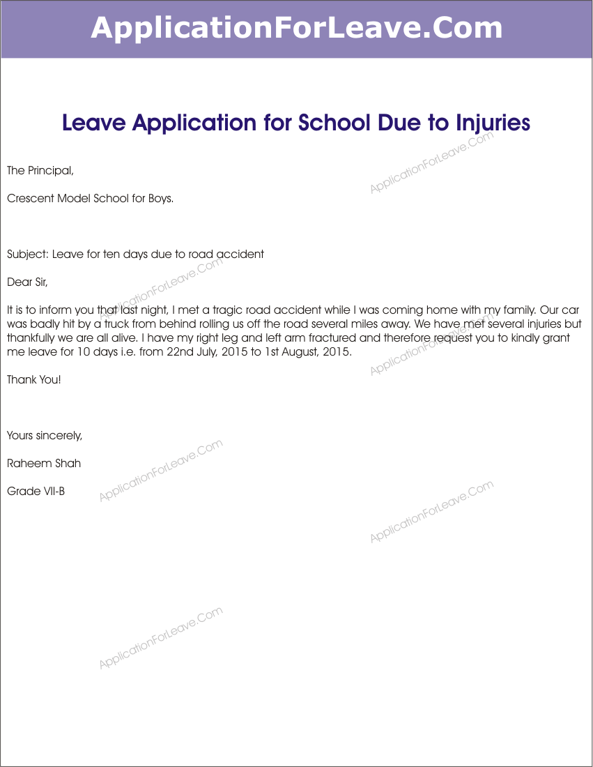 Leave Application Due Injury For University Free Acceptance Letter