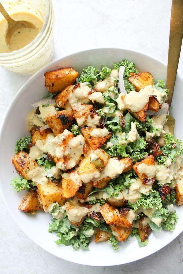 Spicy Potato Kale Bowls with Mustard Tahini Dressing - This Savory Vegan