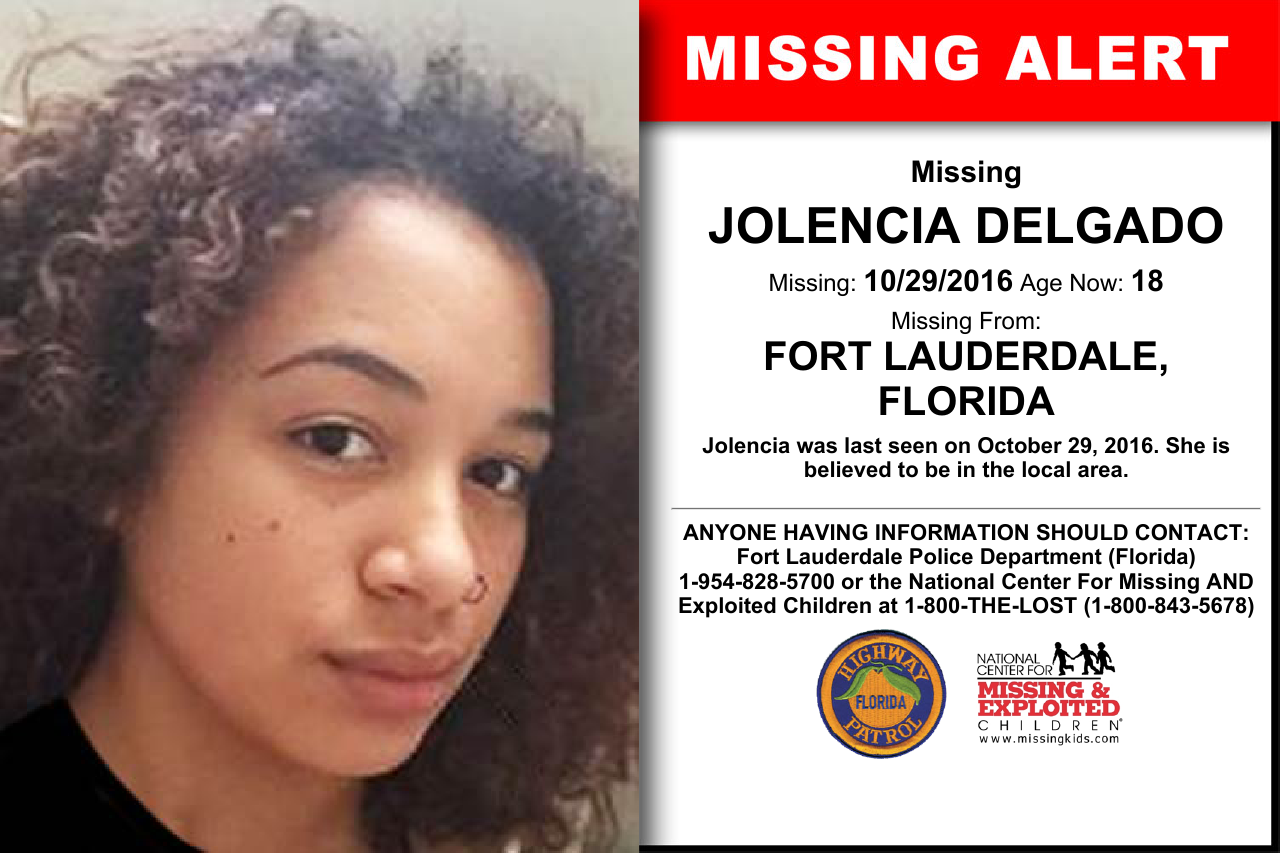 jolencia delgado age now 18 missing 10 29 2016 missing from