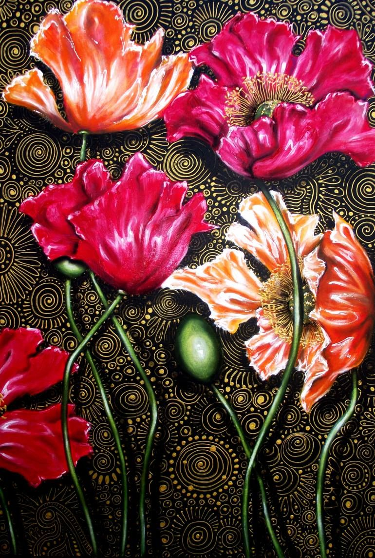 Iceland poppy mix painting by cherie roe dirksen artist dirksen flowers are mysterious beautiful and complex they bring joy into our lives and gardens why for me its because they show the perfection of existence izmirmasajfo