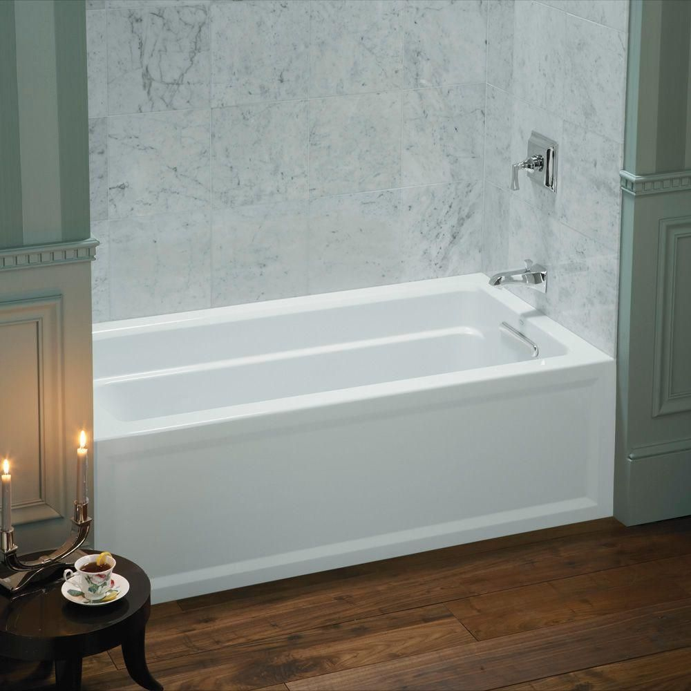 kohler shower tub combo. KOHLER Archer 5 ft  Acrylic Right Hand Drain Rectangular Farmhouse Apron Front Non Whirlpool Bathtub in White Shower ComboGray