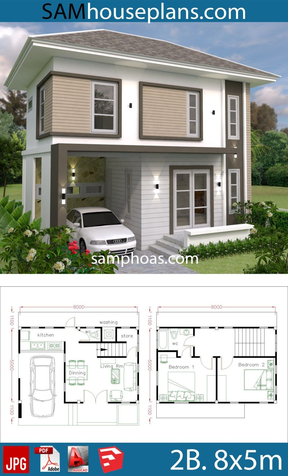 Small Home Design Plan 8x5m With 2 Bedrooms Sam House Plans Modern Small House Design Small House Design Home Design Plan
