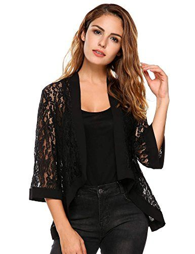 44d96b8a24 Women s Casual Lace Crochet Cardigan 3 4 Sleeve Sheer Cover Up Jacket Plus  Size