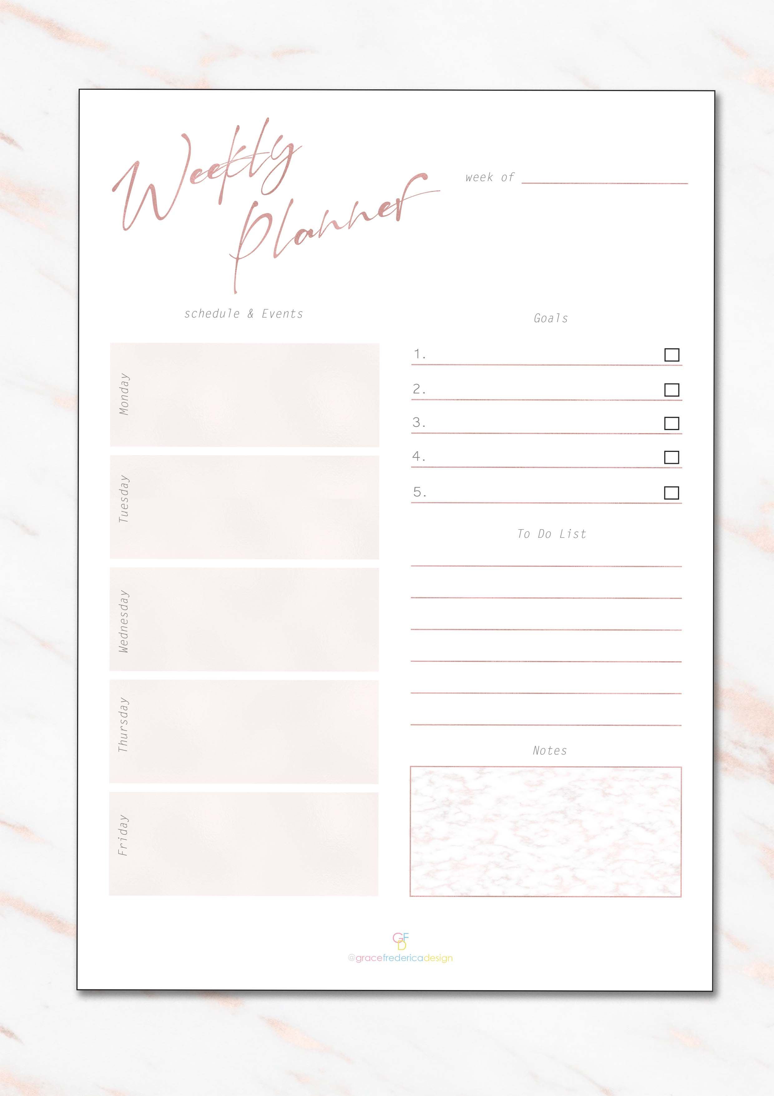 Weekly Planner Rose Gold Marble Planner Set Hd Pdf Download A4 A5