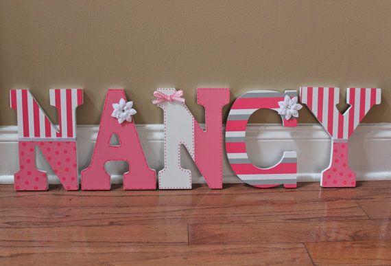 Letras de madera personalizadas cartas para pared vivero - Letras para pared ...