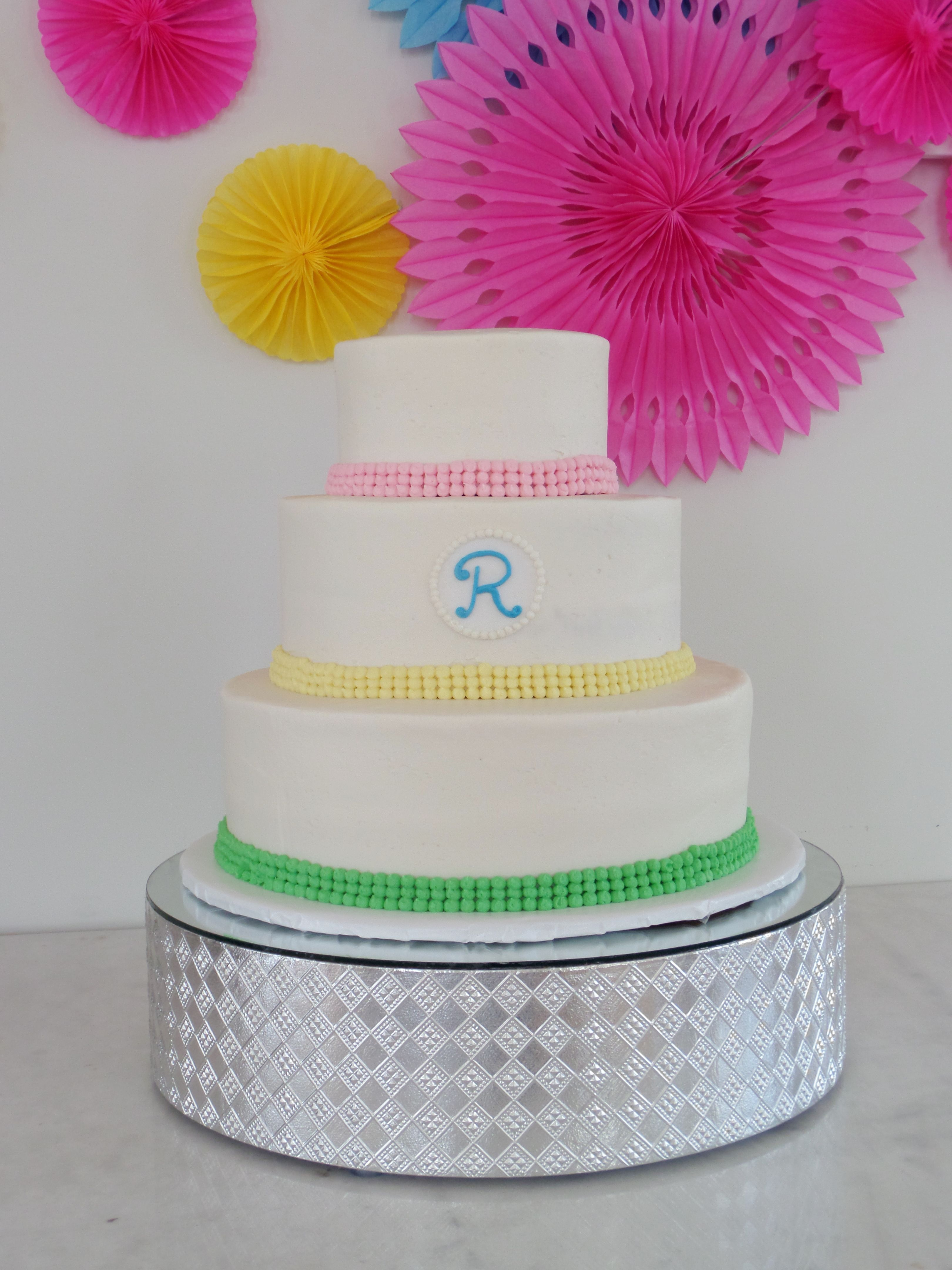 Wedding Cake with Spring Colors Wedding Cake by Confectionate