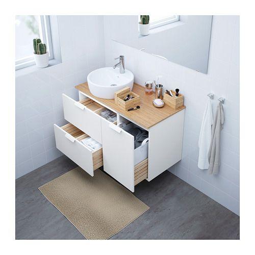 GODMORGON TOLKEN   TÖRNVIKEN Allaskaluste+allas 45, valkoinen, bambu - ikea meuble salle de bain godmorgon