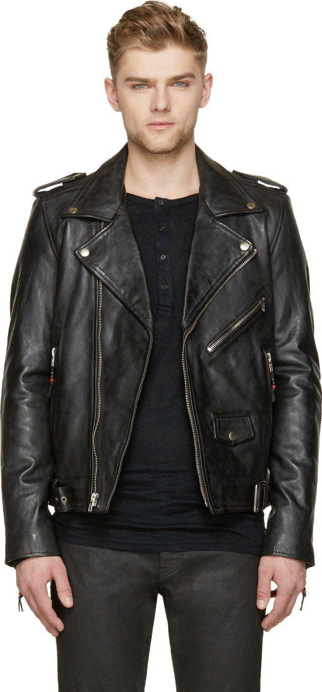 Mens Black Leather Biker Jackets Spring Lima Edition