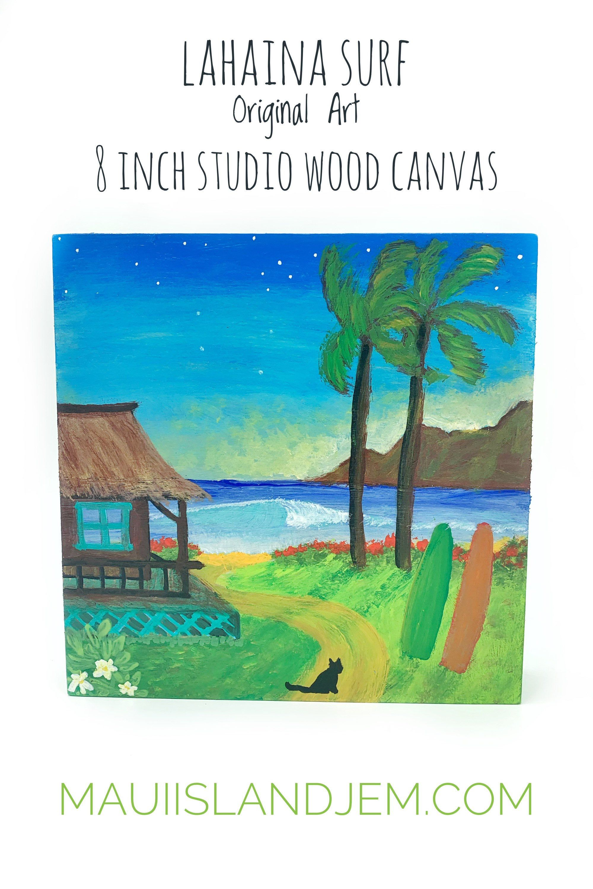 Island Life Wall Art Maui Original Painting Surf Art Maui Scenic West Side Acrylic Painting On 8 X 8 Wood Canvas Ready To Hang In 2020 Surf Art Wood Canvas Original Paintings