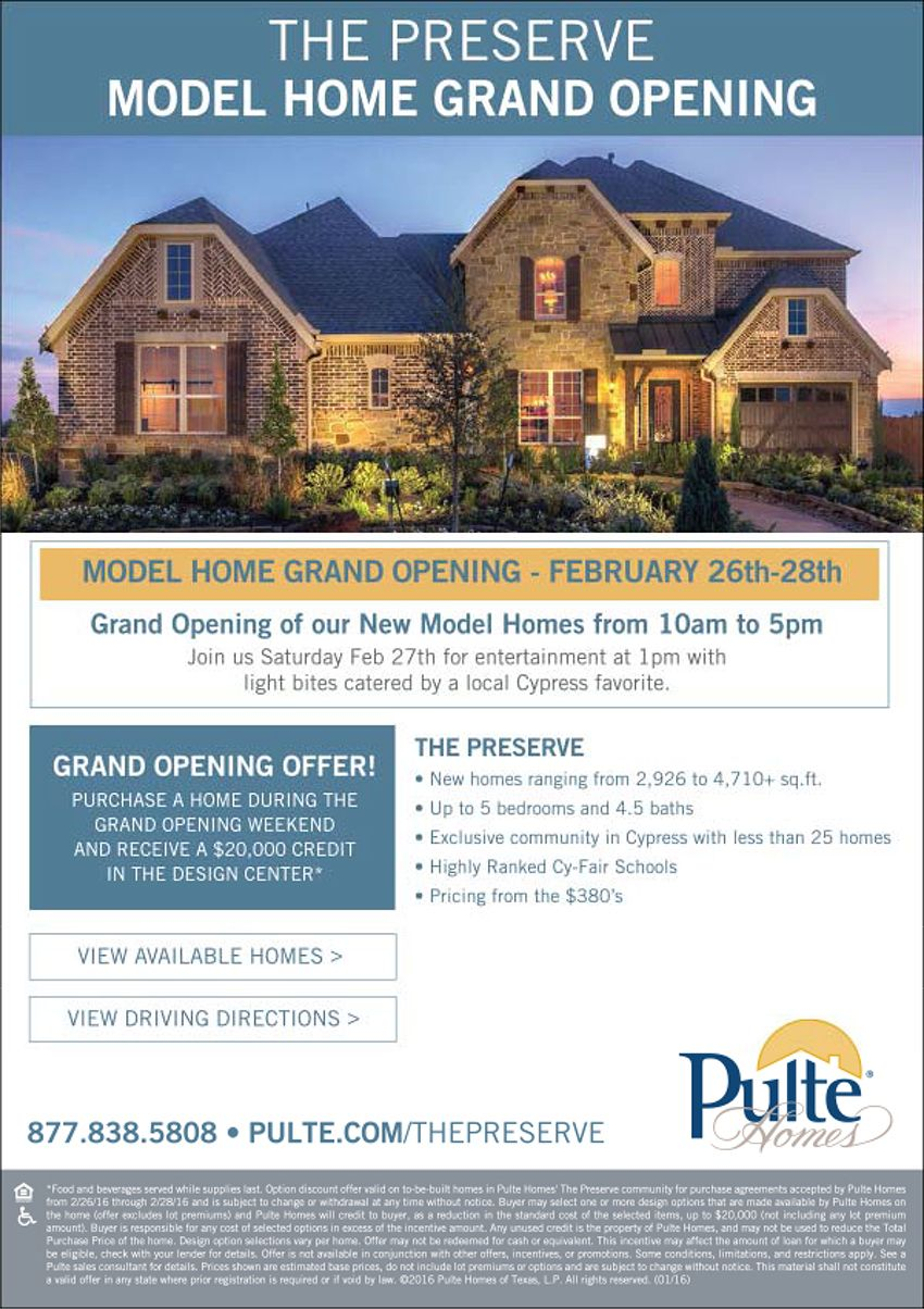 New Homes for Sale in Cypress, Texas New Community Debut with ...