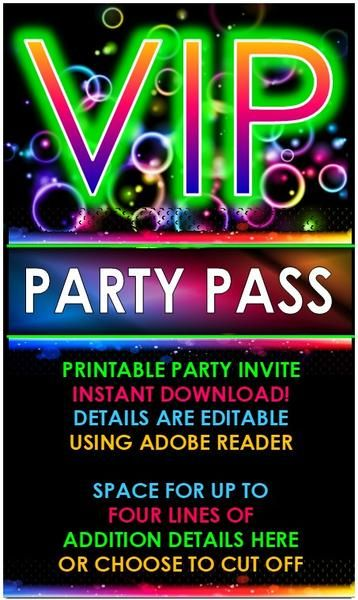 Vip Glow Party Invitation Editable In 2019 Neon Party