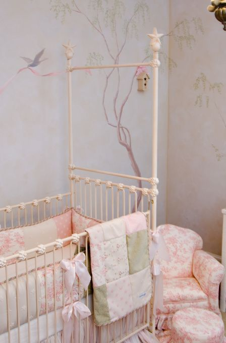 Wall Mural With Bird House Chic Baby Rooms Shabby Chic Baby Baby Room Decor