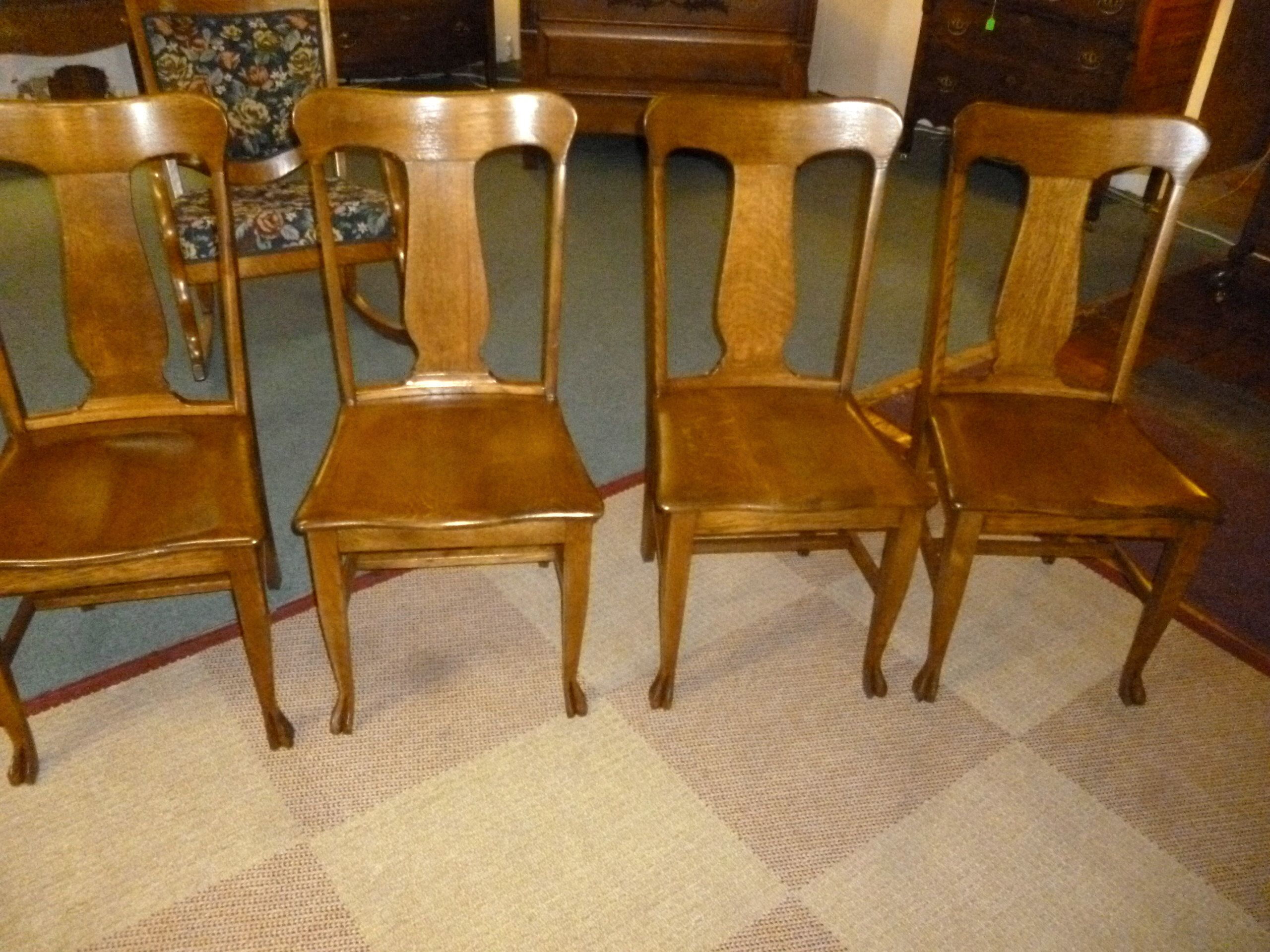 Outdoor Hartwig Antique Oak Chairs Set Of 4 Claw Feet Refinished Hartwig