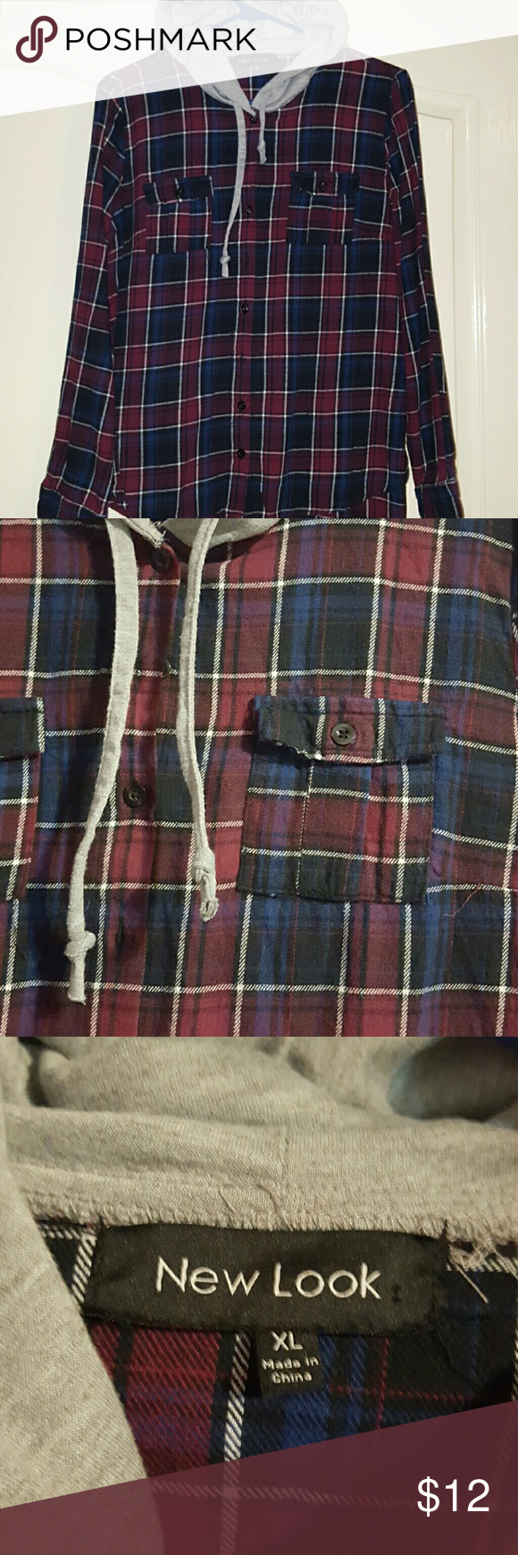 Flannel shirt black and grey  Flannel hoodie Flannel shirt material Not too thick like most
