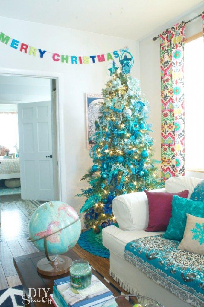 BLUE / TEAL / TURQUOISE CHRISTMAS IDEAS | Trees, Blue christmas ...