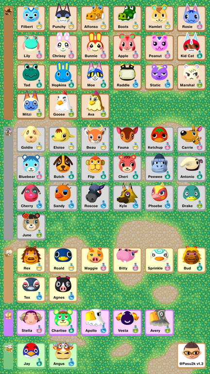 Animal Crossing Pocket Camp Phone Sized Reference Sheet Updated With Boots Ava Sprinkle St Animal Crossing Pocket Camp Animal Crossing Animal Crossing Pc