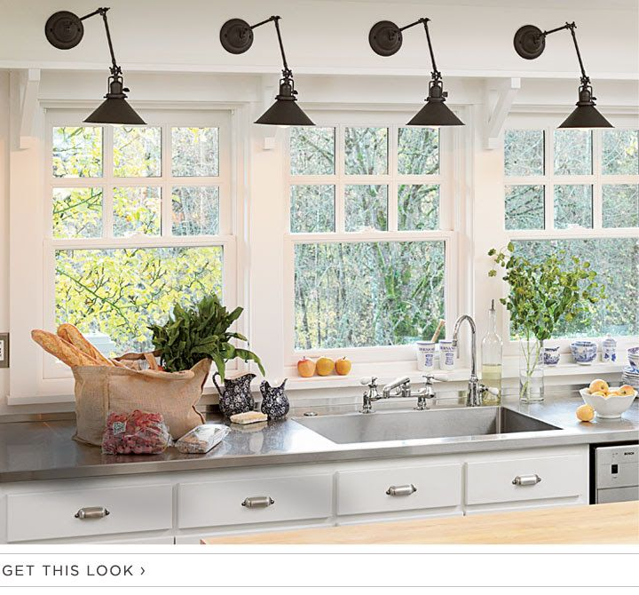 Kitchen Sink Light Fixtures: Library Sconces Over Kitchen Sink