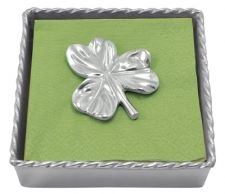 """Twisted Cocktail Napkin Box with Shamrock Weight  Item 2743-C    Price:$48.00 (Suggested Retail)  Materials:Recycled Sandcast Aluminum  Dimensions:5.75""""L x 5.75""""L x 1.5""""W"""