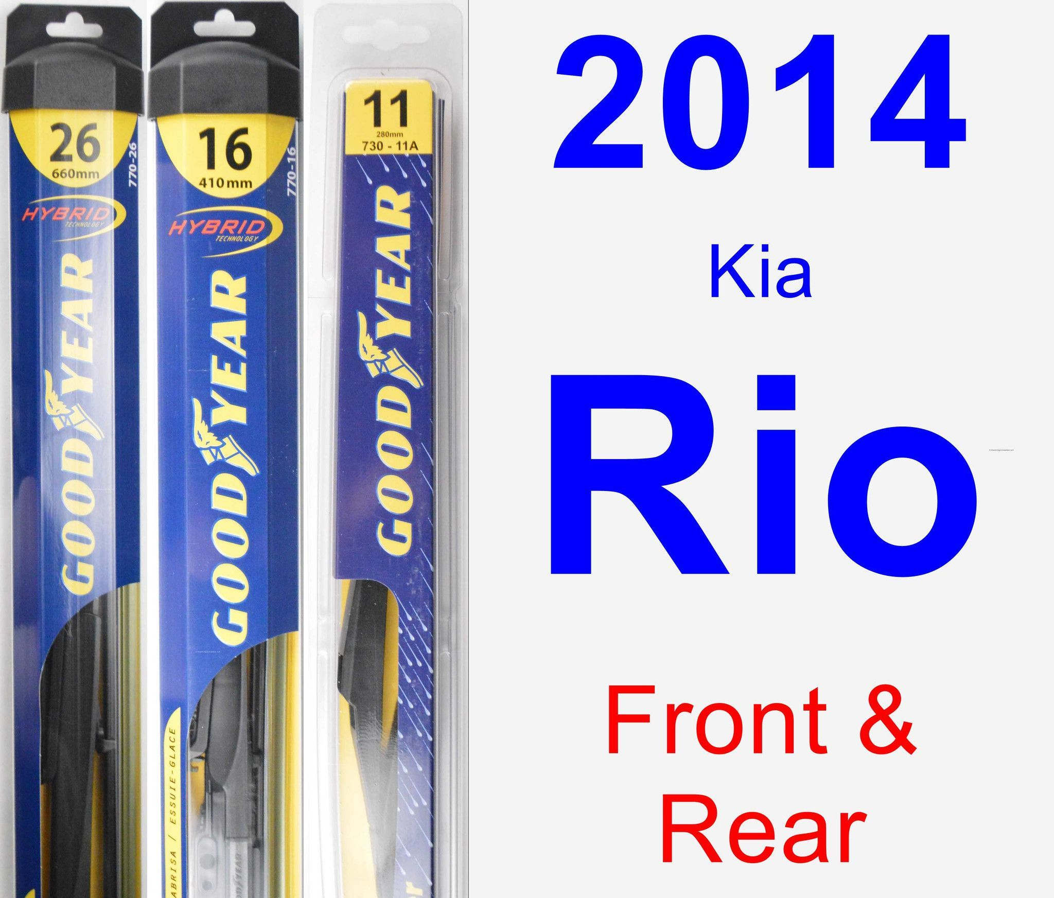 Front & Rear Wiper Blade Pack For 2014 Kia Rio