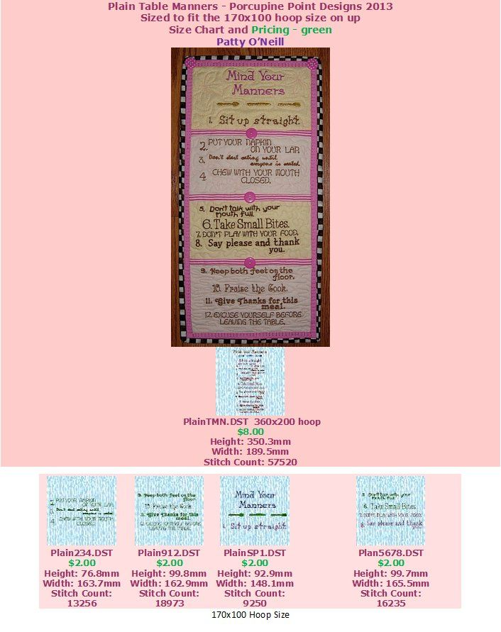 plain table chart. Plain Table Manners Size Chart And Pricing R