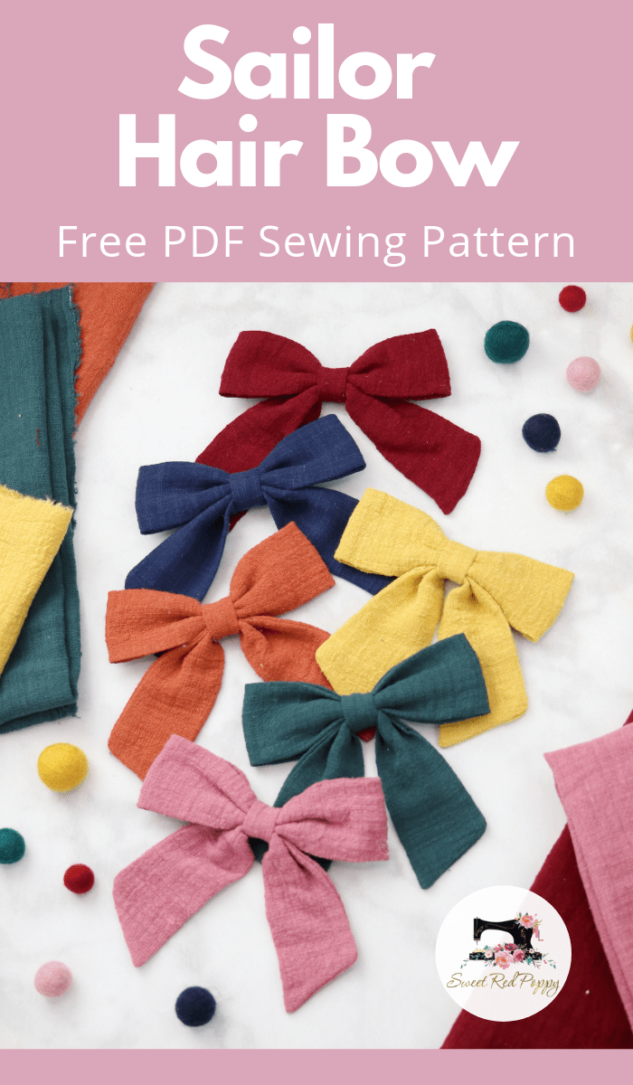 Sailor Hair Bow Sewing Tutorial and Free Printable PDF Pattern