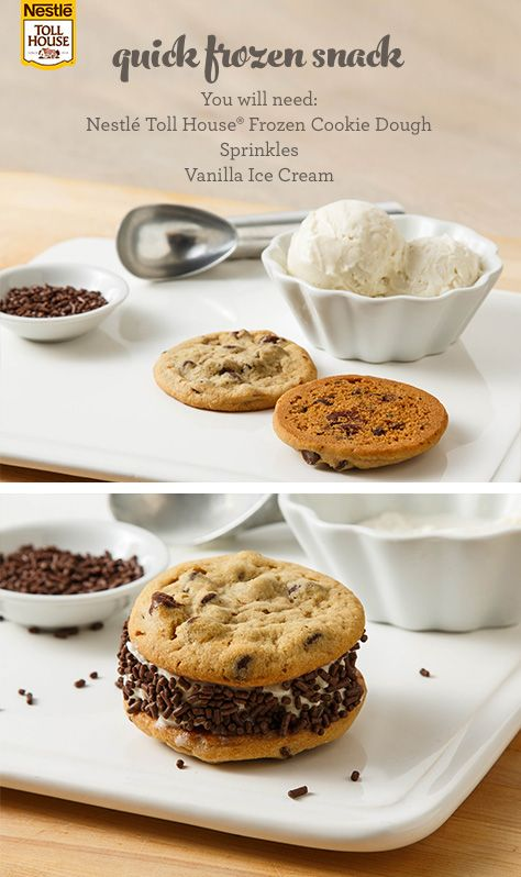 Ice Cream Cookie Sandwich How do you upgrade an ice cream sandwich? With chocolate chip cookies, of course! Start with Nestle Toll House Frozen Cookie Dough for two freshly baked cookies in just 12-14 minutes, add a scoop of your favorite vanilla ice cream in the middle and roll the edge in sprinkles for a treat sure to make any day better! #icecreamsandwich