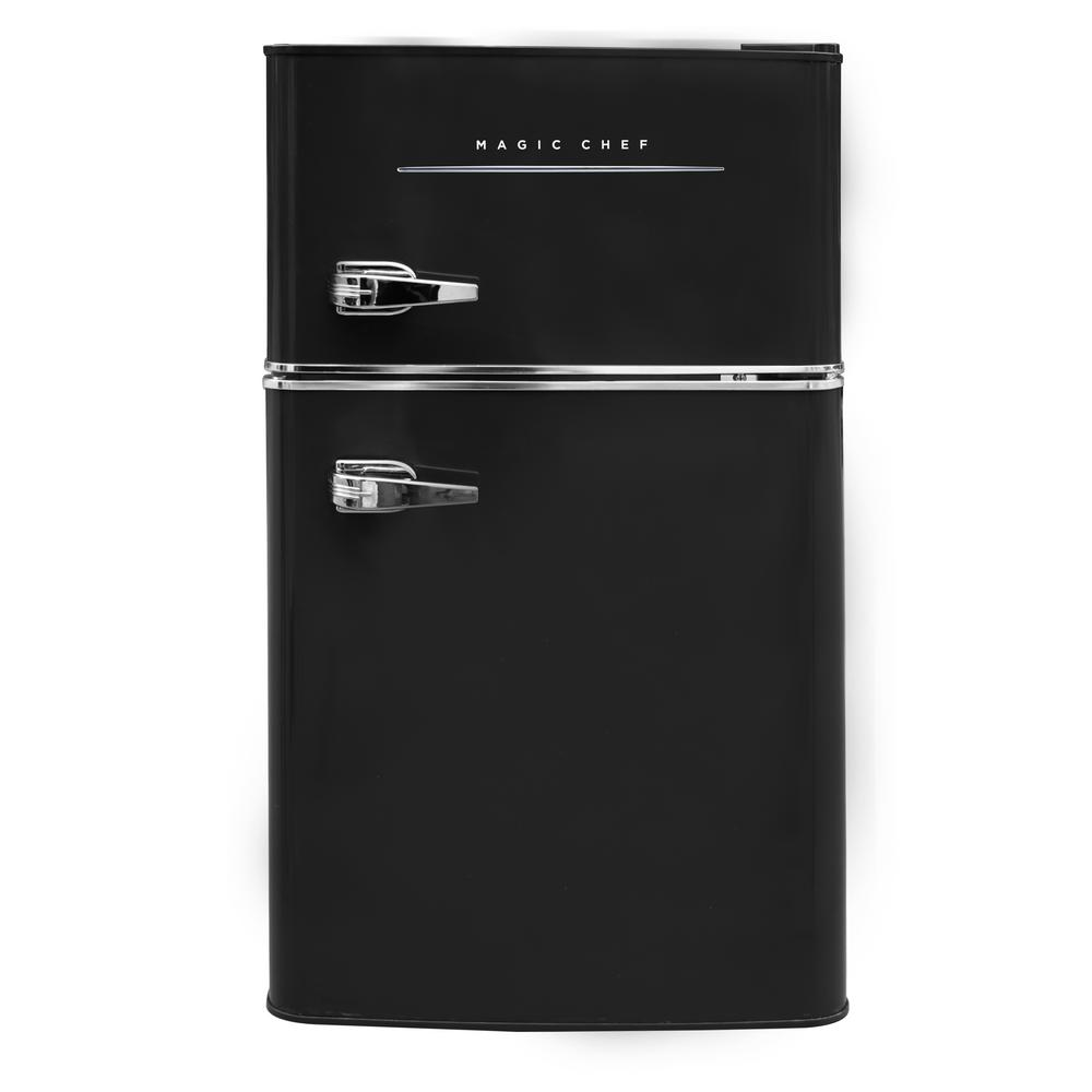 Magic Chef Retro 3 2 Cu Ft 2 Door Mini Fridge In Black Mini Fridge Magic Chef Mini Fridge In Bedroom
