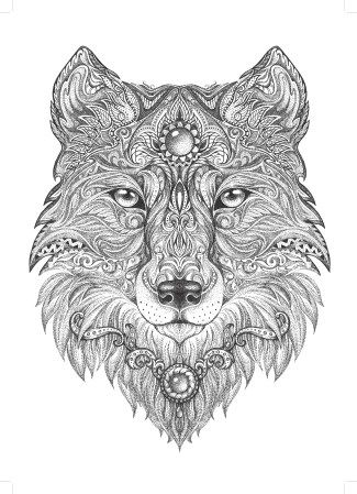 Coloring for Adults: Wolf | Coloring pages | Pinterest